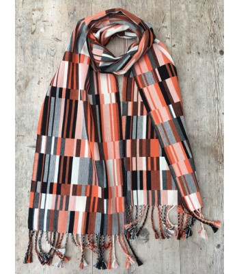 Doubleweave Scarf - orange, black and ecru